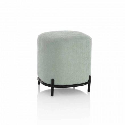 Runder Hocker mit modernem Design für das Wohnzimmer aus mintgrünem Stoff - Ambrogia
