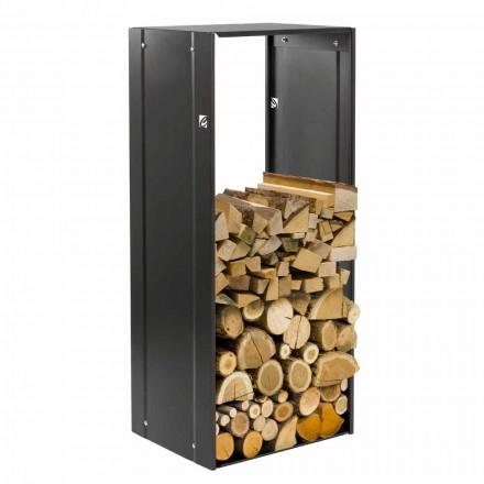 Black Rectangle 75 Designer Holzkorb für Stahlfeuerstellen