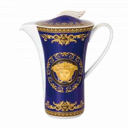Rosenthal Versace Medusa Blaue Kaffeekanne aus Porzellan für 6 Personen