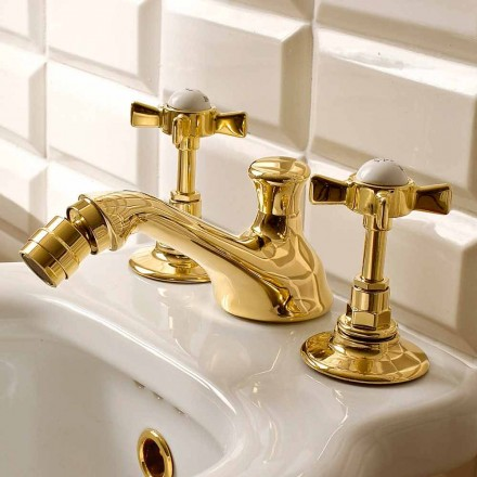 Klassische Messing 3-Loch Bidet Armaturen Made in Italy - Katerina