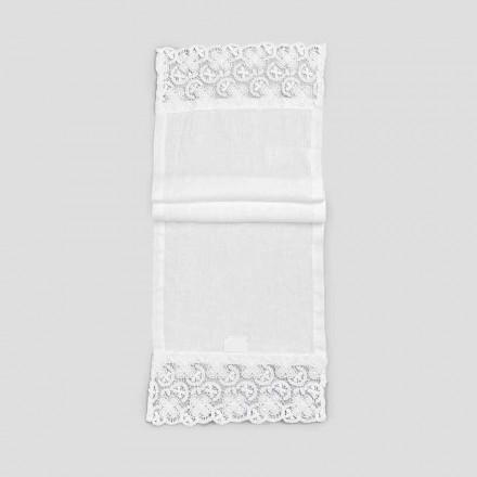 2 Tischläufer 100% Leinen mit luxuriöser weißer Spitze Made in Italy - Trionfo