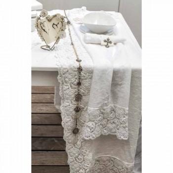Tischläufer 100% Leinen mit luxuriöser weißer Spitze Made in Italy - Triumph