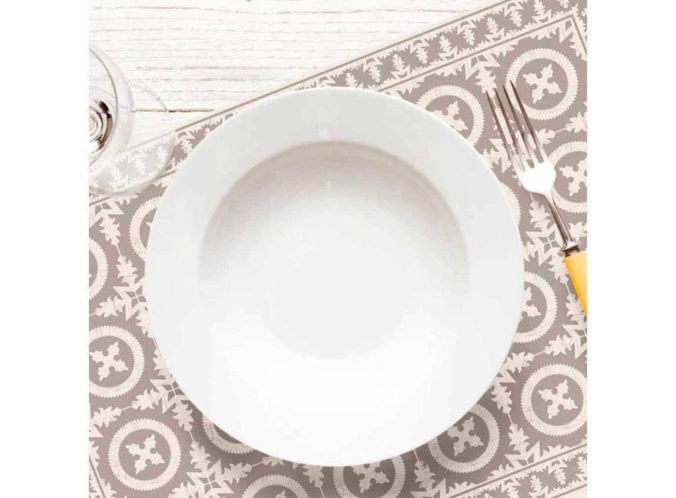 Beige oder Blau gemusterte Tischläufer aus PVC und modernem Polyester - Bondo