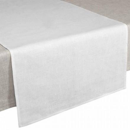 Tischläufer 50x150 cm in cremeweißem reinem Leinen Made in Italy - Blessy