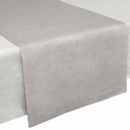 Tischläufer aus reinem Naturleinen 50x150 cm Made in Italy - Mohn