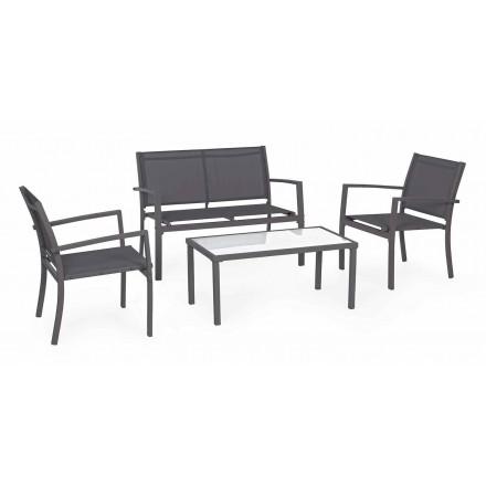 Gartenlounge aus Stahl und Textil, Sofa, Sessel und Couchtisch - Osseo