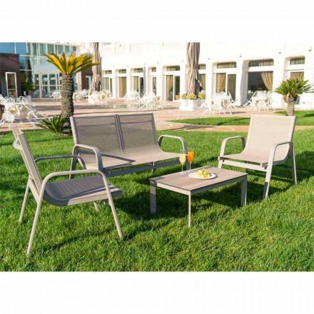 Garden Lounge aus Aluminium, Canvas und wertvollem HPL Made in Italy - Atollo