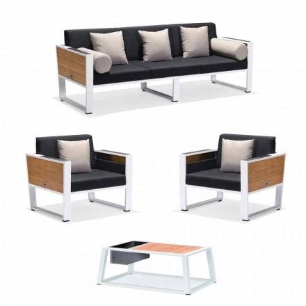 Outdoor Lounge 3-Sitzer-Sofa, 2 Sessel und Couchtisch aus Aluminium und Teakholz - Hatice