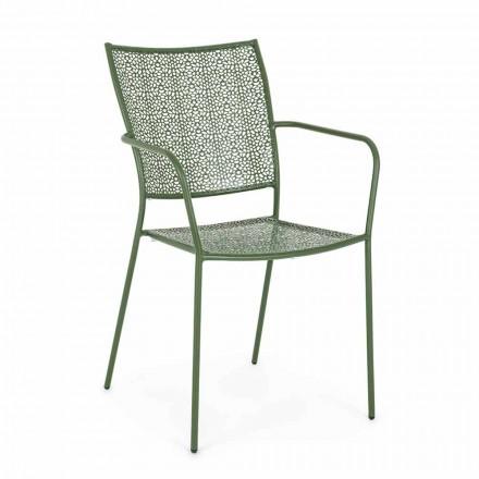 Gartenstuhl mit Armlehnen Stapelbarer dekorierter Stahl - Slipper