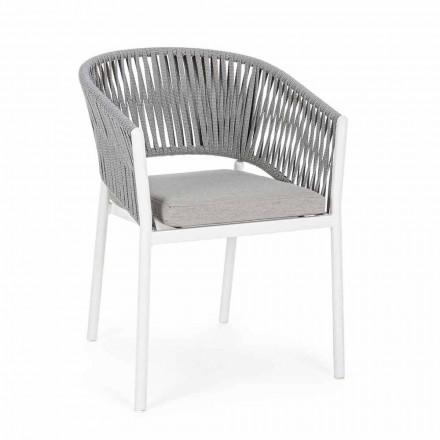 Gartenstuhl mit Armlehnen aus weißem und grauem Aluminium Homemotion - Rubio