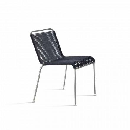 Outdoor Design Stuhl aus Stahl und schwarzer Kordel Made in Italy - Madagaskar1