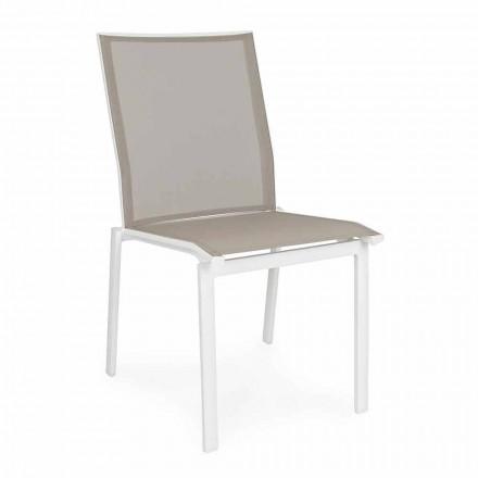 Stapelbarer Gartenstuhl aus Aluminium und Textilene, Homemotion 4 Stück - Serge