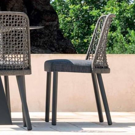 Design Outdoor-Stuhl aus Stoff und Aluminium Varaschin Emma
