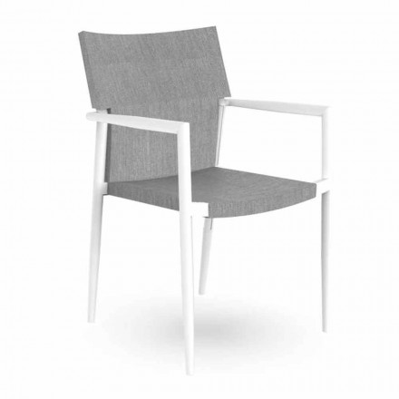 Gartenstuhl mit Armlehnen Stapelbares Aluminium und Textilene - Adam Talenti