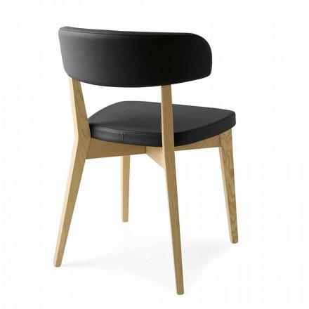 Esszimmerstuhl aus Holz und Stoff oder Kunstleder Made in Italy - Sirene