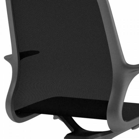 Bürostuhl mit drehbaren Rädern aus schwarzem Mesh und schwarzem Nylon - Ayumu