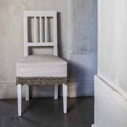 Designer Küchenstuhl aus weiß lackiertem Buchenholz, Shirley, 2 Stücke