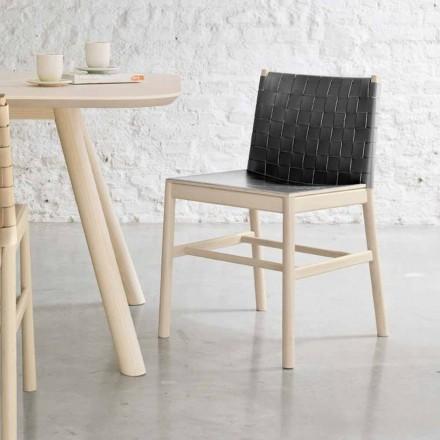 Hochwertiger Stuhl aus Buchenholz und Leder Made in Italy, 2 Stück - Nora