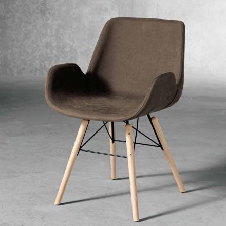 Design Stuhl aus Holz und Textil made in Italy, Ranica