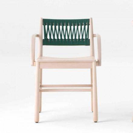 Luxusstuhl mit Armlehnen aus gebleichter Buche und Seil Made in Italy - Nora