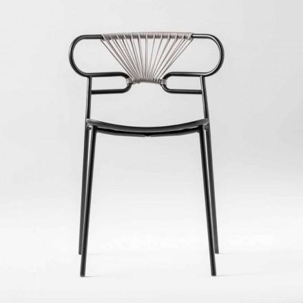 Luxus stapelbarer Stuhl aus Metall und Polyurethan Made in Italy 2 Stück - Trosa