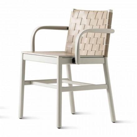 Luxusstuhl aus beige lackierter Buche und geflochtenem Leder Made in Italy - Nora