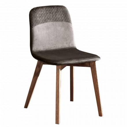 Eleganter Stuhl für modernes Design aus farbigem Samt und Holz 4 Stück - Bizet