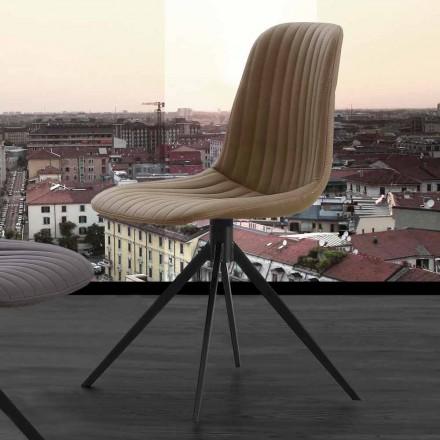 Polsterstuhl aus Nabukleder und Metall, in modernem Design, Taranto