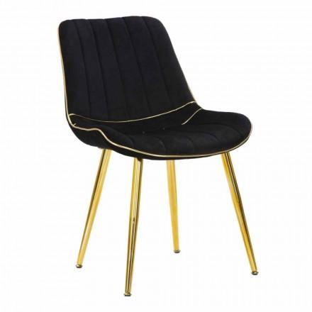 Gepolsterter Stuhl für Esszimmergestaltung in Holz und Stoff, 2 Stück - Kolly