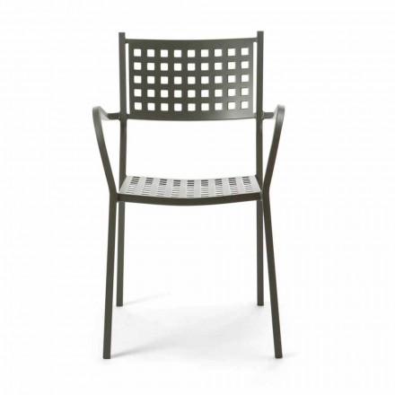 Stapelbarer Gartenstuhl aus lackiertem Metall Made in Italy, 8 Stück - Lina