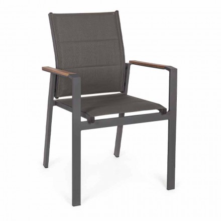 Stapelbarer Outdoor-Stuhl aus Textilene und Anthrazit-Aluminium, 6 Stück - Urban