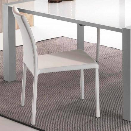 Stuhl aus weißem Kunstleder Mayer