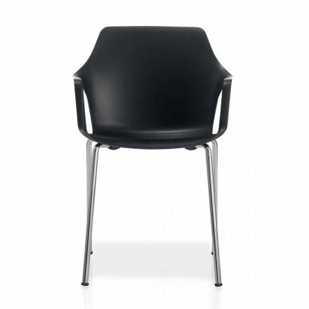 Stapelbarer Stuhl aus Metall und Polypropylen Hergestellt in Italien, 4 Stück - Karamell