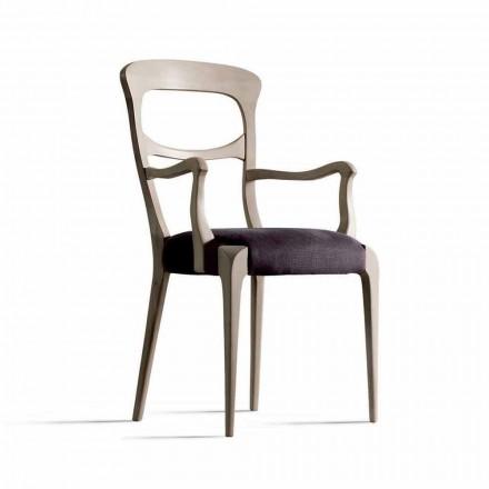 Stuhl aus massivem Nussholz mit Armlehnen und Sitz aus Stoff, Noemy