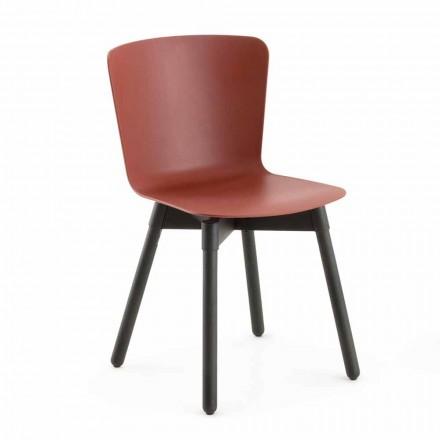 Polypropylen Stuhl mit gebeizter Eichenbasis Made in Italy, 2 Stück - Scandio