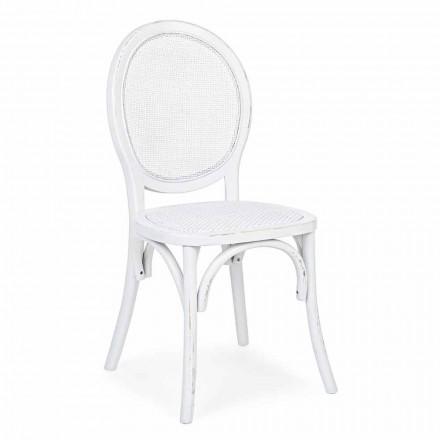 Homemotion Classic Design Stuhl aus Rattan und Ulmenholz - Alfreda