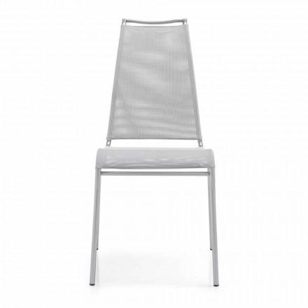 Lebender Stuhl mit hoher Rückenlehne aus Satinstahl Made in Italy, 2 Stücke- Air High