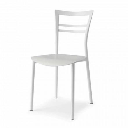 Living Design Stuhl aus Metall und mehrschichtigem Holz Made in Italy, 2 Stücke - Go