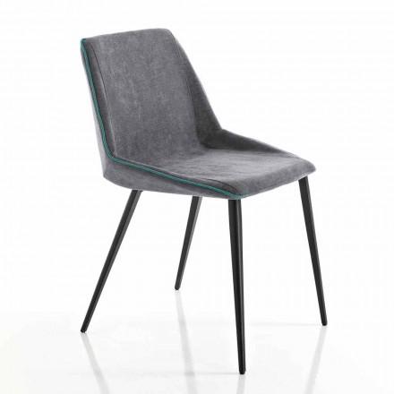 Stuhl aus Stoff für Wohnzimmer und Keilbeine made in Italy, Oriella