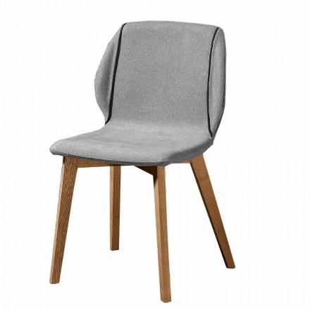 Moderner eleganter Designstuhl aus Stoff mit Bordüre und Holz 4 Stück - Scarat