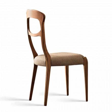 Moderner Stuhl aus massivem Nussholz, gepolsterter Sitz Gemma