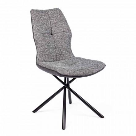 Moderner Stuhl aus Polyester und Kunstleder 4 Stück Homemotion - Plero