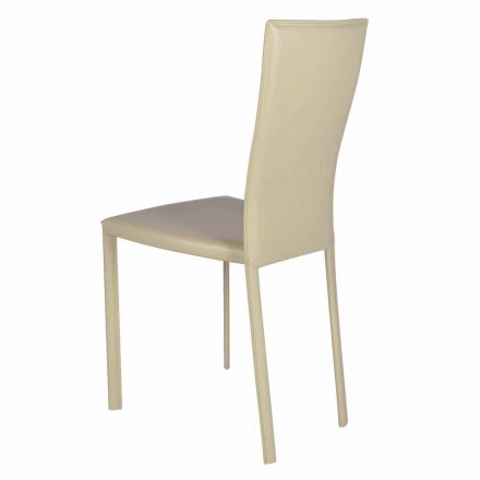 Moderner Design-Wohnstuhl auf Leder / hautbeschichtet, made in Italy Ghada
