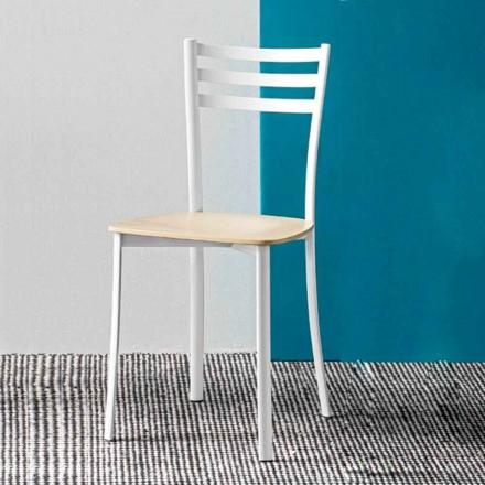 Moderner Küchenstuhl aus Weißmetall und Buchenholz Made in Italy, 2 Stücke - Ace