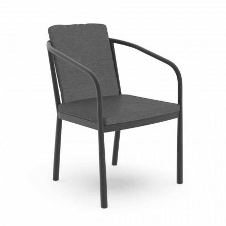 Gartenstuhl mit Armlehnen aus Aluminium und Stoff - Sofy von Talenti