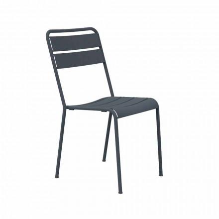 Stapelbarer Outdoor Stuhl pulverbeschichtet Made in Italy, 4 Stück - Amina