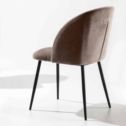 Stuhl aus Samt mit Sockel aus schwarz lackiertem Metall, 2 Stück - Havanna