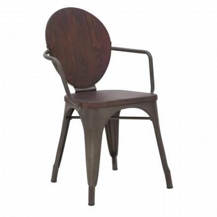 Industriedesign Stuhl Holzsitz und Eisenfuß, 2 Stück - Delia