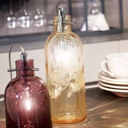 Selene Bossa Nova Tischlampe Ø10H26cm geblasenes Glas, Bernsteinfarben