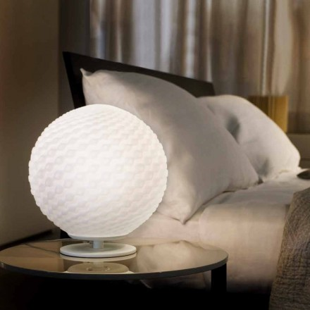 Selene Domino weiße Tischlampe aus geblasenem Glas Ø27 H 30cm